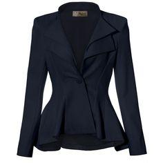 Women Double Notch Lapel Office Blazer JK43864 1073T NAVY 1X at Amazon... (1.655 RUB) ❤ liked on Polyvore featuring outerwear, jackets, blazers, blazer, blue blazer jacket, blazer jacket, blue jackets, navy jacket and navy blue blazer