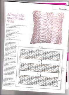 Smocking Patterns, Embroidery Stitches Tutorial, Cross Stitch Embroidery, Diy Pillows, Throw Pillows, Hobbies And Crafts, Diy And Crafts, Textile Manipulation, Canadian Smocking