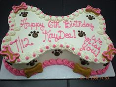 Petcraftstore.com - Puppy Pawty Cake - Bone Shaped in Pink for the girls! Also comes in blue for the boys!