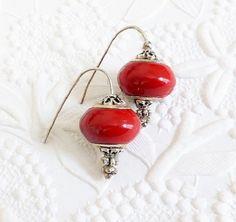 Earrings  Red Lampwork Glass Bead Earrings by uBuNEEKBoutique
