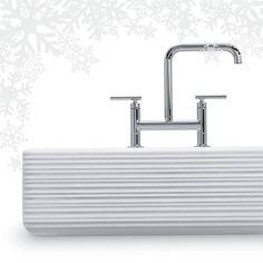 Kohler Purist bridge faucet with their Whitehaven under-mount single-bowl kitchen sink with tall apron and Hayridge™design https://www.facebook.com/Kohler/photos/pb.251539554450.-2207520000.1426008372./10152973898624451/?type=3