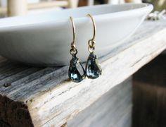 Glass Jewel Earrings Vintage Cut Gems Dark Blue Tear Drop Gold Filled Estate Style Minimalist Modern Bridal Jewelry Sparkly