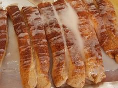 These bread sticks are super easy to make and are so delicious!   Take a portion of your bread dough  Roll out ,wipemelted butter on , and sprinkle cinnamon and raw sug...
