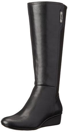 AK Anne Klein Sport Women's Durwyn Synthetic Knee High Boot, Black, 8 M US