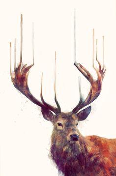 "Amy Hamilton's ""Red Deer // Stag"" Medium Print - 16"" x 23"" - $32."