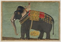 Portrait of the Elephant 'Alam Guman. Along with seventeen other elephants from Mewar, this famous tusker was presented to the Mughal emperor Jahangir during the New Year celebrations of March 21, 1614.