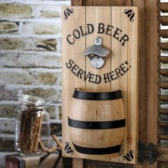 "Vintage Inspired ""Cold Beer"" Bottle Opener Sign"