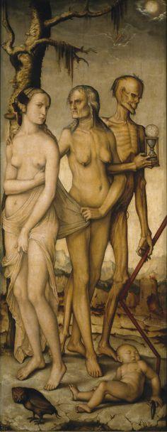 """The Three Ages of Man and Death"" by Hans Baldung Grien (oil painting, Prado Museum, Madrid). Memento Mori, Medieval Art, Renaissance Art, Hans Baldung Grien, Albrecht Dürer, Ages Of Man, Madrid, Hans Holbein, Danse Macabre"