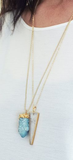 Spirit Quartz Druzy Gold Dipped Necklace by friedasophie