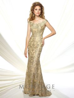 Mon Cheri Montage 116948 tip-of-the-shoulder metallic lace and tulle fit and flare gown with slight cap sleeves, bateau neckline, scalloped hem, sweep train. - Mother of the Bride Dresses - Mon Cheri Montage 116948 tip-of-the-shoulder metallic lace and tu Mob Dresses, Dressy Dresses, Bridesmaid Dresses, Hippie Dresses, Wedding Bridesmaids, Dresses Online, Evening Dresses For Weddings, Evening Gowns, Wedding Dresses