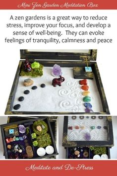 A mini Zen Garde/ Meditation Box is a great idea for meditation or to just de-St. A mini Zen Garde Meditation Room Decor, Meditation Corner, Meditation Cushion, Healing Meditation, Meditation Space, Meditation Music, Meditation Crystals, Meditation Garden, Feng Shui