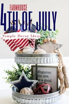 Learn how to style a patriotic tiered tray in 4 simple steps. Plus links to find all the items you need to decorate your tray. #farmhouse #homedecor #USA #American #patriotic #simple #inexpensive #easy Shabby Chic Bedrooms, Small Bedrooms, Bohemian Chic Decor, Happy Birthday America, 70s Home Decor, Inexpensive Home Decor, Patriotic Decorations, At Home Store, Farmhouse Decor
