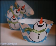 free snowman printable cupcake wrappers