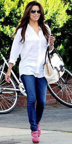 White Button Down. Jeans. Fun Colored Heels