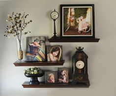 Use mini portraits and canvas with shelves. So cool! Great for hallways or an art niche.