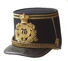 Scottish. 75th (Stirlingshire) Regiment of Foot attributed 1878 pattern Officer's shako. in 1881 became the Gordon highlanders.     A