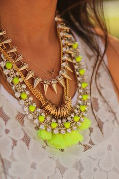 Perfectly balanced metallics with a touch of neon #jewellery #neon #metallics