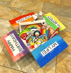 forget the color themed boxes- why not have a rainbow ! forget the color themed boxes- why not have a rainbow ! Cute Birthday Gift, Birthday Gift Baskets, Happy Birthday Gifts, Birthday Gifts For Best Friend, Birthday Gifts For Teens, Birthday Box, Best Friend Gifts, Birthday Presents, Birthday Ideas