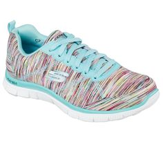 Show off some fun color and sporty comfort with the SKECHERS Flex Appeal - Whirl Wind shoe. Colorful striped fabric and synthetic upper in a lace up athletic training sneaker with stitching accents and Memory Foam insole. Training Sneakers, Training Shoes, Athletic Training, Comfy Shoes, Comfortable Shoes, Asics Wrestling Shoes, Tennis Gifts, Shops, Sports
