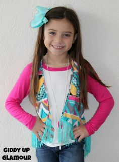Kids Hooked on You Aztec Vest with Fringe in Mint