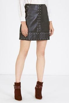 New Season | Black Faux Leather Studded Skirt | Warehouse