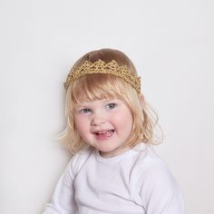 Flower Girl Toddler Crown Headband, Flower Girl Crown Gold, Flower Girl Head Piece, Gold Tiara Headband, Flower Girl Gift, Silver Tiara by KeraSoftwear on Etsy