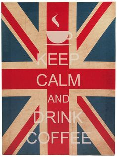 Retro Keep Calm and Drink Coffee, Union Jack canvas, wooden frame 40x30x1.5 cm