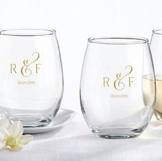 Classic Monogram 9 Ounce Personalized Stemless Wine Glass | Wedding Favor Discount