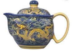 Jingdezhen Blue and White Paintings Gold Dragons Porcelain Teapot with Lid&stainless Steel Filter « zCamping.com