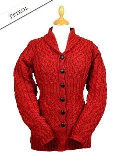 Shawl Neck Cardigan Women, Ladies, Aran Knitwear   Aran Sweater Market