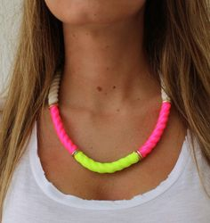 Neon Statement Necklace Rope Necklace by lizaslittlethings
