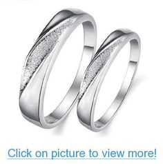 His $ Hers Matching Set Platinum Plated Couple Ring Wedding Band Set Simple Korean Style(Available Sizes 5# to 10#):