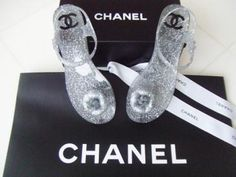 Chanel 2013 Camellia Silver Jelly Sandals Flip Flops Shoes