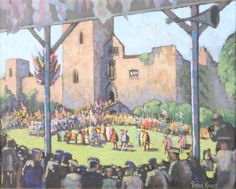 """Lot 415, Bernard Ninnes, oil painting on board, figures viewing The Ludlow Pagaent, signed 12"""" x 15"""", Est £150-200"""