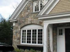 stone driveways of new england | Rockport Construction New England Fieldstone Mosaic Veneer House