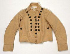 """Metropolitan Museum: chaqueta para un """"skeleton suit"""" de algodón inglés de 1795-1805 (Inventario: 1986.106.14a, b)"""