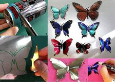 DIY Can Butterflies - Holy cow! This looks awesome~! Ingenious really :D