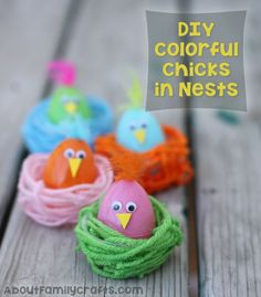 DIY Colorful Chicks in Nests - Make these colorful Easter decorations using yarn, plastic Easter eggs, and a few other supplies. (http://aboutfamilycrafts.com/diy-colorful-chicks-in-nests/)