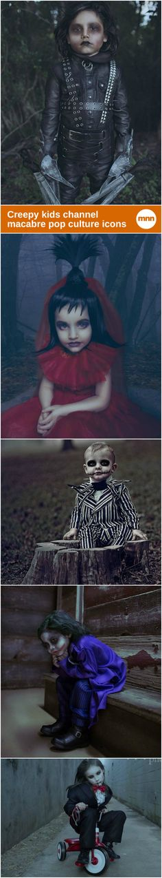 Portraits of children dressed up as famously creepy pop culture icons.
