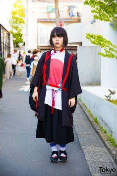 Harajuku Girl in Funky Fruit Japanese Flag Shirt, Vintage Kimono Coat,  Harness & Nike
