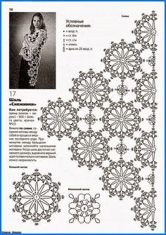 Flower crochet motif for a shawl or a scarf, a doily, a tab Crochet Diagram, Crochet Chart, Thread Crochet, Crochet Granny, Irish Crochet, Crochet Motif, Crochet Doilies, Crochet Flowers, Crochet Lace