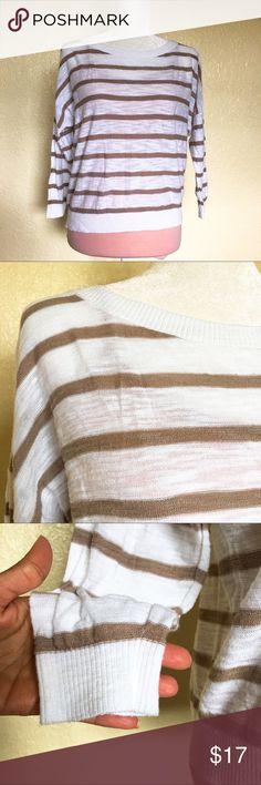 Express Lightweight Sweater Lightweight gently worn, white with Beige stripes. GUC Express Tops
