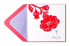 """""""Thank You"""" Flocked Red Flower with Hummingbird Price $5.95"""