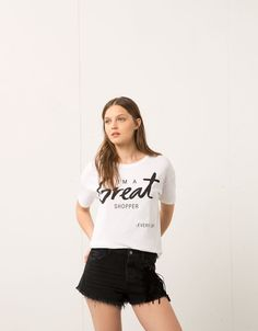fdab7d269822ee Bershka text print top - T- Shirts - Bershka United Kingdom Tee Shirts