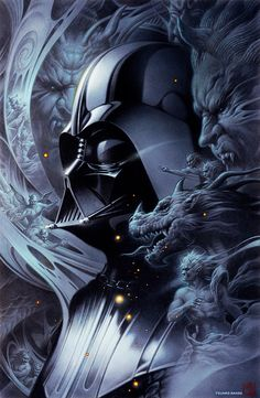 Darth Vader, Dark Lord of Sith. Wonderful symbolic artwork by Tsuneo Sanda representing the demons that tormented Anakin. by patrica Star Wars Fan Art, Star Wars Film, Star Wars Poster, Star Trek, Dark Side, Anakin Vader, Anakin Skywalker, Darth Vader Movie, Darth Vader Artwork