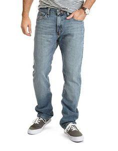 Nautica Straight Fit Crosshatch Denim Jeans Men's Blue 32X30