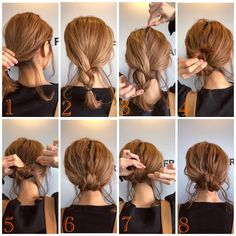 Haircuts For Wavy Curly Hair - Hair Styles Easy Updos For Medium Hair, Short Hair Updo, Simple Hair Updos, Messy Hair, Curly Hair Styles, Medium Hair Styles, Hair Medium, Work Hairstyles, Hairstyle Tutorials
