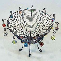Lost My Marbles Basket by Sally Prangley: Metal Basket available at www.artfulhome.com