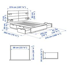 NORDLI Bed with headboard and storage, white, King. Ample storage space is hidden neatly under the bed in 6 large drawers. Perfect for storing quilts, pillows and bed linen. Bed Frame With Storage, Bed Storage, Storage Spaces, White Headboard, Wood Headboard, Nordli Ikea, Painted Beds, Honeycomb Paper, Bedroom Bed Design
