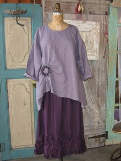 linen top ruched with rose by linenclothing on Etsy, $135.00